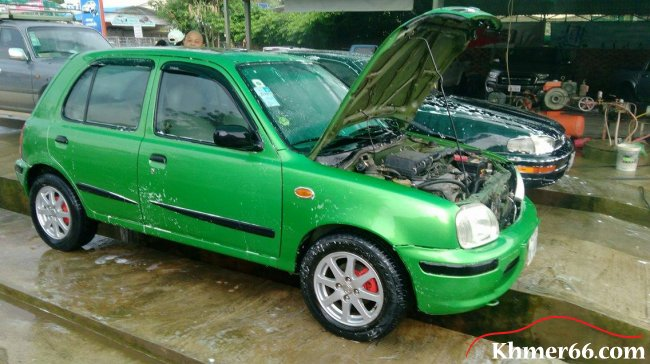 Nissan march model year 2000, green color, Battambong